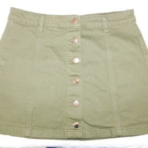 Olive Green Skirt with Buttons